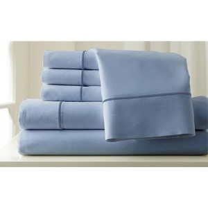 Italian Hotel Sterling Blue and Celestial Blue Six-Piece 1000 Thread Count King Sheet Set