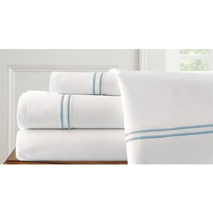 Italian Hotel White and Celestial Blue Four-Piece 1000 Thread Count Queen Sheet Set