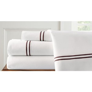 Italian Hotel White and Chocolate Four-Piece 1000 Thread Count California King Sheet Set