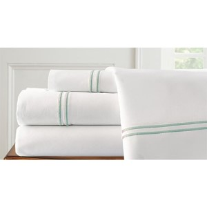 Italian Hotel White and Soft Jade Four-Piece 1000 Thread Count Queen Sheet Set