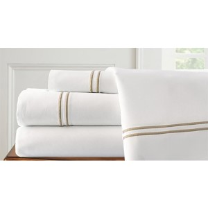 Italian Hotel White and Warm Sand Four-Piece 1000 Thread Count Queen Sheet Set