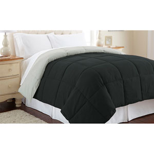 Anthracite and Silver Down Alternative Reversible Queen Comforter