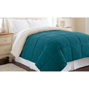 Blue Coral and Oatmeal Down Alternative Reversible Twin Comforter