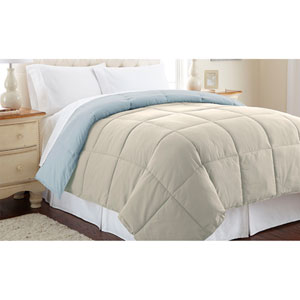 Oatmeal and Dusty Blue Down Alternative Reversible Twin Comforter
