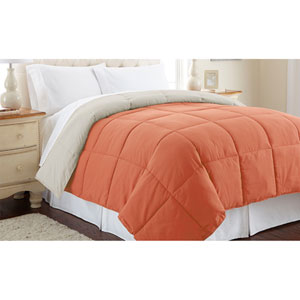 Orange Rust and Oatmeal Down Alternative Reversible Twin Comforter