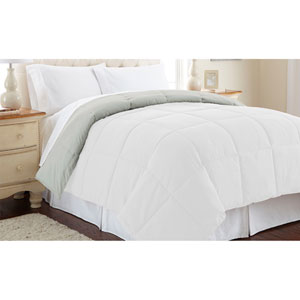 White and Gray Down Alternative Reversible Twin Comforter
