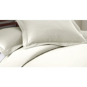 Fine Linens Ivory Three-Piece 800 Thread Count Damask Stripe Queen Duvet Set