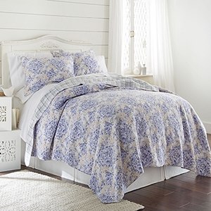 Girona Floral Twin Printed Reversible Quilt Two-Piece Set
