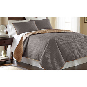 Atmosphere and Hazel Three-Piece Reversible Queen Coverlet Set