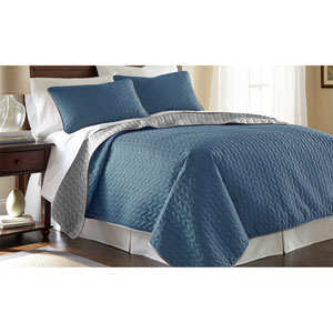 Denim and Silver Three-Piece Reversible Queen Coverlet Set