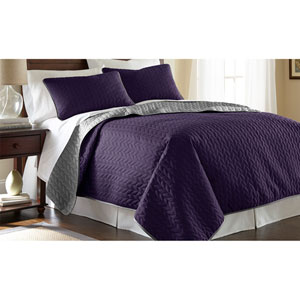 Vintage Violet and Silver Three-Piece Reversible Queen Coverlet Set