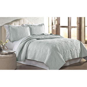 Silver Solid Embroidered Two-Piece Twin Quilt Set