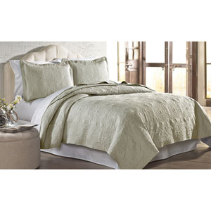 Sand Solid Embroidered Two-Piece Twin Quilt Set