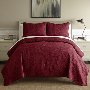 Sanctuary Embroidered Burgundy and White Queen Three-Piece Quilt Set