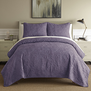 Sanctuary Embroidered Dusty Plum and White Queen Three-Piece Quilt Set