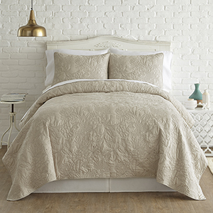 Sanctuary Embroidered Sand and Brown Queen Three-Piece Quilt Set