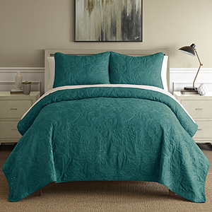 Sanctuary Embroidered Teal and White Queen Three-Piece Quilt Set