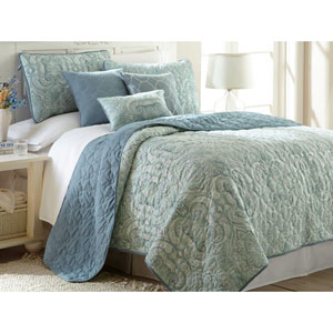 Bali Seafoam Six-Piece Reversible Queen Quilt Set