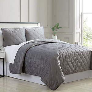 Cottage Lane Charcoal 3 Piece King Quilt Set