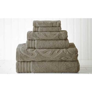 Jacquard/Solid Taupe Six-Piece Medallion Swirl Towel Set