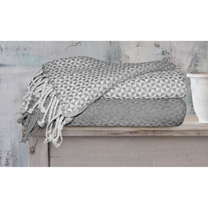 Picasso Ivory and Grey Cotton Throw, Set of Two