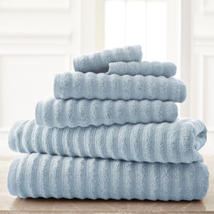 Wavy Luxury Spa Blue Six-Piece Quick Dry Towel Set