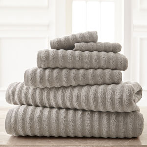 Wavy Luxury Spa Gray Six-Piece Quick Dry Towel Set