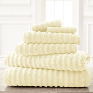 Wavy Luxury Spa Ivory Six-Piece Quick Dry Towel Set