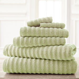 Wavy Luxury Spa Sage Six-Piece Quick Dry Towel Set