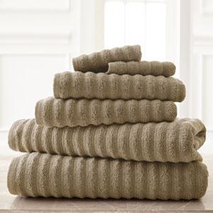 Wavy Luxury Spa Taupe Six-Piece Quick Dry Towel Set