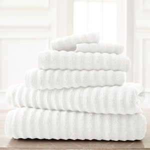 Wavy Luxury Spa White Six-Piece Quick Dry Towel Set