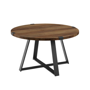 Rustic Oak and Black Round Coffee Table