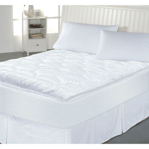 White Luxury Stripe Twin Mattress Enhancer