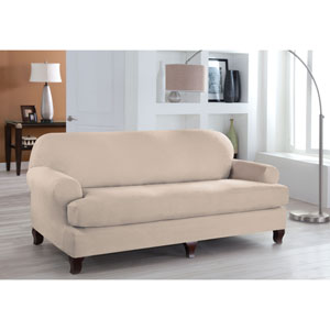 Stretch Fit Ivory Two-Piece T Cushion Sofa Slipcover