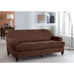 Stretch Fit Cocoa Two-Piece T Cushion Sofa Slipcover