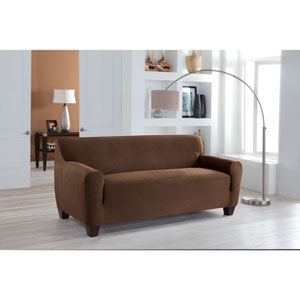 Stretch Fit Cocoa One-Piece Sofa Slipcover