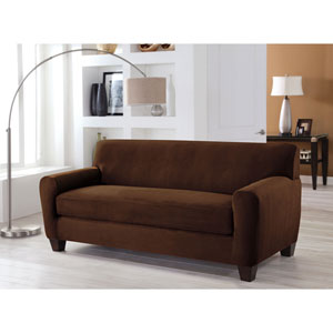 Stretch Fit Cocoa Two-Piece Box Cushion Sofa Slipcover
