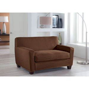 Stretch Fit Cocoa Two-Piece Box Cushion Loveseat Slipcover
