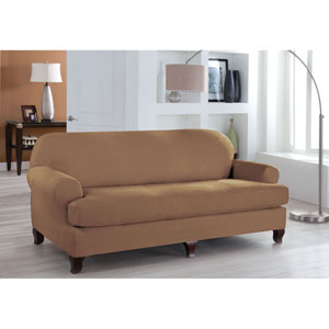 Stretch Fit Camel Two-Piece T Cushion Sofa Slipcover