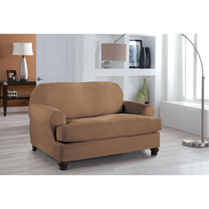 Stretch Fit Camel Two-Piece T Cushion Loveseat Slipcover