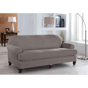 Stretch Fit Grey Two-Piece T Cushion Sofa Slipcover