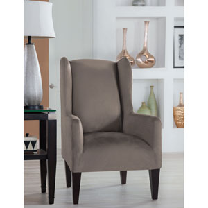 Stretch Fit Grey Wingback Chair Slipcover
