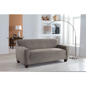 Stretch Fit Grey One-Piece Sofa Slipcover