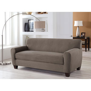 Stretch Fit Grey Two-Piece Box Cushion Sofa Slipcover