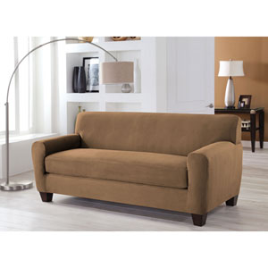 Stretch Fit Camel Two-Piece Box Cushion Sofa Slipcover