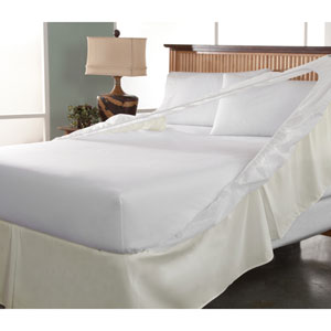 Easy On Easy Off Khaki Full Bedskirt and Box Spring Protector