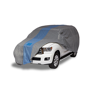 Defender Light Grey and Gulf Blue SUV or Truck Cover for SUVs or Full Size Trucks with Shell or Bed Cap up to 19 Ft. 1 In.