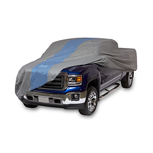 Defender Light Grey and Gulf Blue Pickup Truck Cover for Extended Cab Short Bed Trucks up to 19 Ft. 4 In. Long