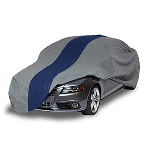 Double Defender Grey and Navy Blue Car Cover for Sedans up to 13 Ft. 1 In. Long