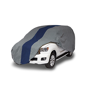 Double Defender Grey and Navy Blue SUV or Truck Cover for SUVs or Full Size Trucks with Shell or Bed Cap up to 19 Ft. 1 In.